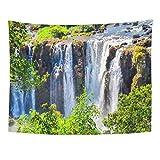Wandteppiche, Wall Tapestry, Art Decor Wall, Green Brazil Waterfall Mountain Scene Forest Stream River Above 60