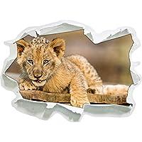 Cucciolo di leone su tavole di legno, formato adesivo carta da parati 3D: 92x67 cm decorazione della parete 3D Wall Stickers murali Stickers