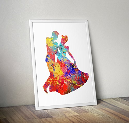 cinderella Inspired Watercolour Poster Print gifts - Alternative TV/Movie Posters in Various Sizes(Frame Not Included)