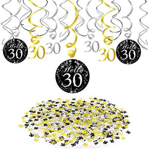 30.Geburtstag Dekoration set, Konsait Gold Schwarz Silber Deko 30. Geburtstag Swirl Spiralen Girlanden zum Aufhängen (15 Teilig) Zahl 30 Konfetti Dekoration für Erwachsene, 30.Geburtstag Party Zubehör
