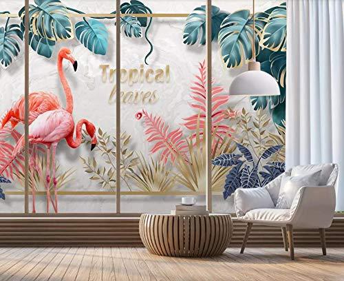 Papier Peint 3D Main, Plante Tropicale, Feuilles, Couple, Flamant Rose Décoration Murale Home Decor Art