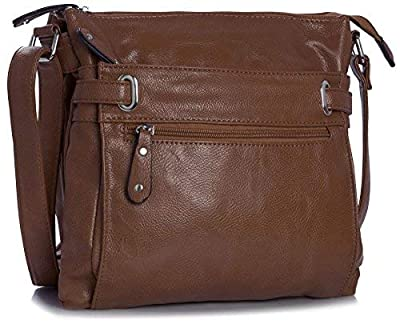 Multi Pocket Messenger Crossbody Shoulder Small Size Handbag - with Branded Protective Storage Bag and Charm - Medium Tan