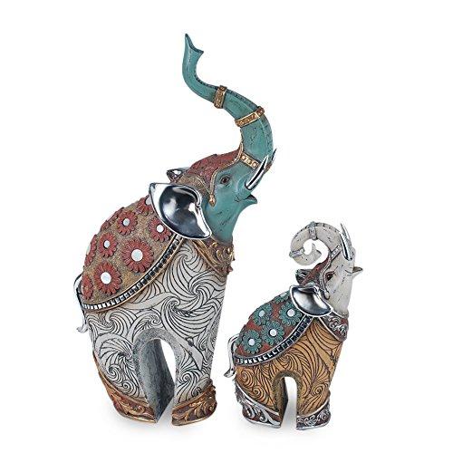 Art Deco Home - Figura Elefantes Resina Set 2 Unidades 34 cm...