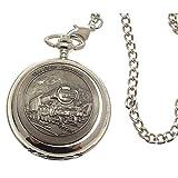 Incisione inclusa, motivo: orologio da taschino, solido con parte frontale in peltro, scheletro meccanico a forma di orologio da tasca, motivo: Flying Scotsman 58