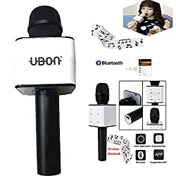 MM Multi Magic Bluetooth Mic / Mike, Portable Handheld Mic / Mike with Speaker (Bluetooth Speaker) for Karoke Singing, Mic / Mike with Audio Recording Facility basically a Wireless Mic / Mike Useful for Parties, Family Functions, Meetings and Karoke Nightouts compatible with Smartphones, Tablets, Laptops, LCD, Television and Other Bluetooth enabled device - UBON-MIC-087-BLACK