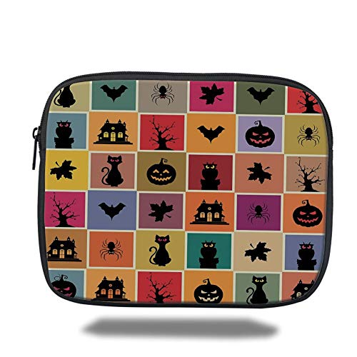 Tablet Bag for Ipad air 2/3/4/mini 9.7 inch,Vintage Halloween,Bats Cats Owls Haunted Houses in Squraes Halloween Themed Darwing Art Decorative,Multicolor,Bag
