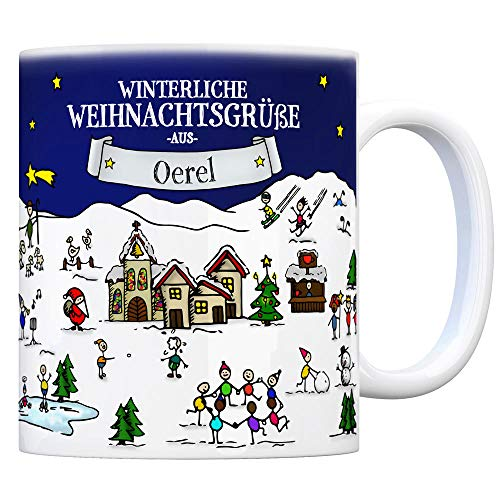 trendaffe - Oerel Weihnachten Kaffeebecher mit winterlichen Weihnachtsgrüßen - Tasse, Weihnachtsmarkt, Weihnachten, Rentier, Geschenkidee, Geschenk