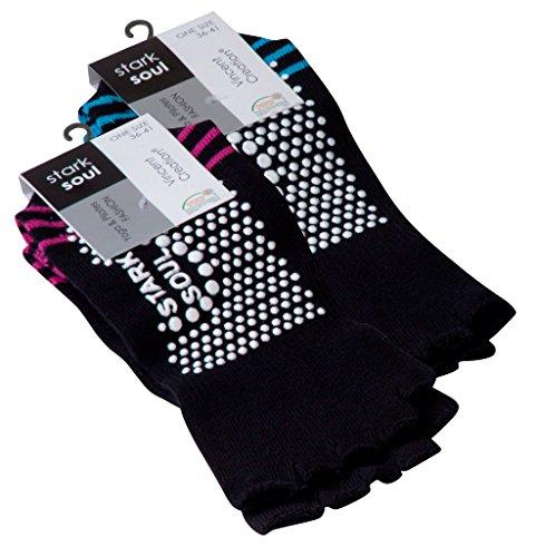Vincent Creation Yoga und Pilates Zehensocken mit Antirutsch-Sohle und offenen Zehen One Size (36-41), 2 Paar/Pink und turquoise