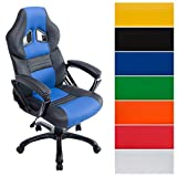 CLP Racing Bürostuhl Pedro XL, Gaming Stuhl mit Kunstleder-Bezug, höhenverstellbar 46-56 cm, max. belastbar bis 180 kg, Chefsessel mit Hochwertiger Polsterung, in Verschiedenen Farben schwarz/blau