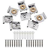 SelfTek 8 Stück Badezimmer Spiegel Aufhänger Clips Set mit Schrauben, Rawl Plugs und Extra Free 8 Pack Schrauben