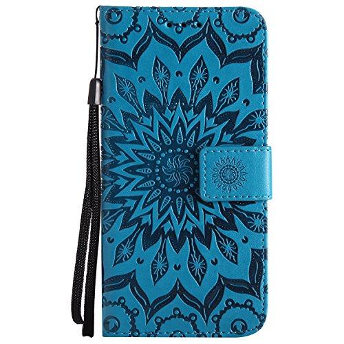 Kucosy Samsung Galaxy A8 2018 Schutzhülle Leder Flip Case Mode Retro Mandala Blume Muster Design Brieftasche Cover Schutzhülle Zubehör mit Kartenfach und Standfunktion für Galaxy A8 2018 (Blume Blau)