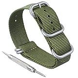 ZWOOS Cinturino di Orologio di Nylon, 5 Anelli Acciaio Inossidabile Spazzolato con Fibbia 20 mm 22 mm (verde, 20mm)