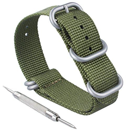 ZWOOS Nylonband Zulu-Uhrenarmband mit Edelstahl-Schnalle Uhrband Armband Band mit Federstegwerkzeug 20mm, schwarz und Armeegrün (Grün, 20mm)