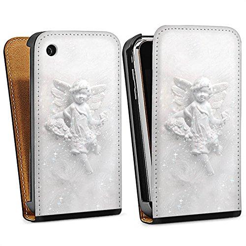 Apple iPhone 5s Housse Étui Protection Coque Ange gardien Canne Ange Sac Downflip noir