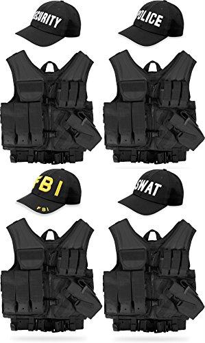 MC Weste mit Holster, Lochkoppel mit passender Cap aus Baumwolle - 4 verschiedene eingestickte Aufschriften SWAT, FBI, POLICE, SECURITY Farbe Schwarz SWAT (Taktische Weste Kostüm)