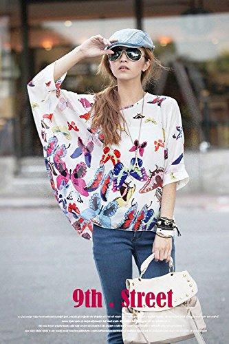 Smile YKK Femme Rétro Tops Batwing T-shirt Chiffon Papillons Blanc