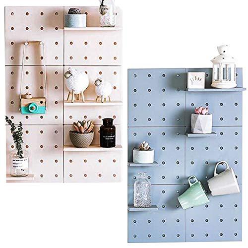 DIY Pegboard Wandorganizer für Küche Utensil Werkzeug Rack Pflanze Wand Regale 3M Selbstklebend Wandhalterung (Blau) Utensil Wand