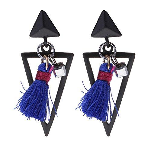1 paar Vintage Gotik Dreieck Quaste Baumeln Gestüt Frauen Ohrringe Modeschmuck Blau