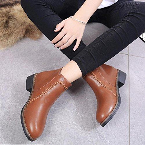 Tefamore Femme Chaussures plates Bottines Flock cuir Bottes brown