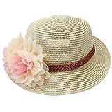 Mädchen Kinder Hut Mütze Blumen Sommerhut Sommermütze Niedlich Stilvoll beige