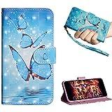 Motorola One (P30 Play) Hülle Leder Handyhülle Schutzhülle Flip Case 3D Gemalt Tasche PU Wallet Handytasche Bookstyle Ständer Kartensätze Magnetisch Brieftasche Blauer Schmetterling