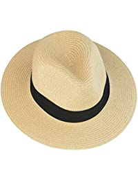 884dcb53589f5 mifengdaer Woman Rollable Panama hat Girls Foldable Floppy Straw Hat Ladies  Hand Woven Beach Cap Sun Hat UPF 50+ with Knot for…