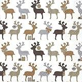 20 Servietten Reindeer kupfer - Elche kupfer / Weihnachten / Rentiere / Muster 33x33cm