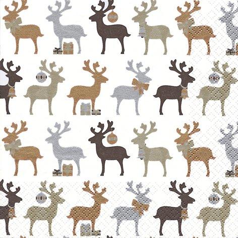 20 Servietten Reindeer kupfer – Elche kupfer / Weihnachten / Rentiere / Muster 33x33cm (Kupfer-elch)