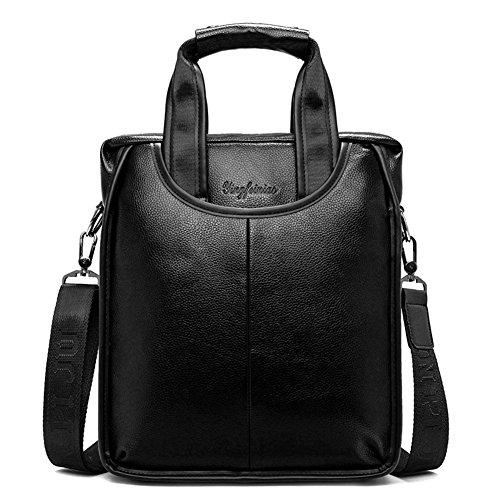 FULIER Herren Leder Cross Body Messenger Umhängetasche Handtaschen Büro Aktentasche Taschen (Schwarz) (Small Weekender Tote Travel)