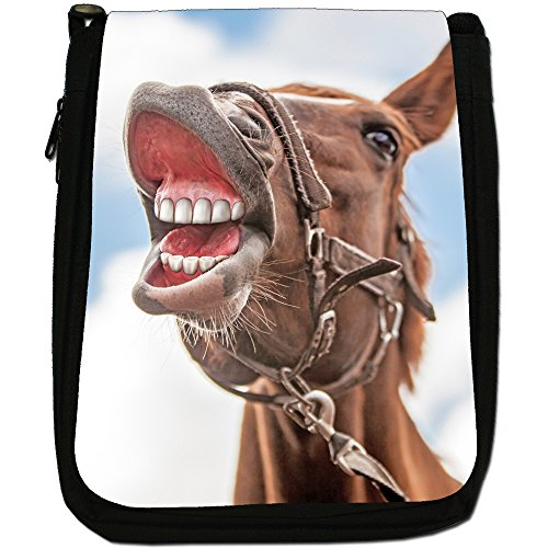Elegante cavallo marrone medio nero borsa in tela, taglia M Portrait Of Laughing Horse