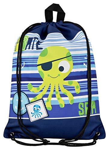Aminata Kids - Kinder-Turnbeutel für Junge-n mit Piraten-Schiff Schatz Toten-Kopf-Flagge Pirat-en Sport-Tasche-n Gym-Bag Sport-Beutel-Tasche hell-blau dunkel-blau (Schiffe Flagge Für)