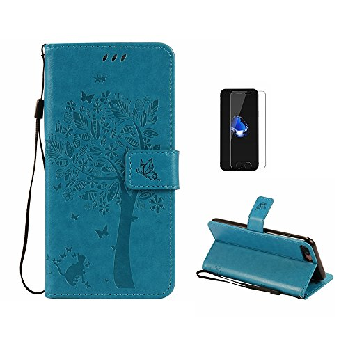 iPhone 7case 11,9cm iPhone 8cover 11,9cm [with free tempered glass Screen Protector], Fatcatparadise (TM) [cavalletto] custodia in stile retrò, elegante vintage pressato albero gatto farfalla mode Blue