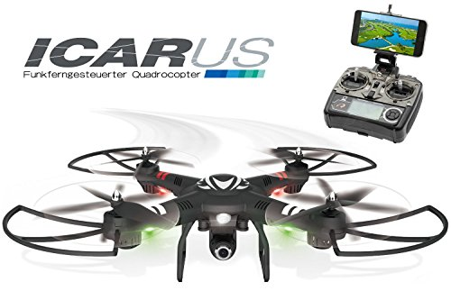 Q019001 2.4 GHz RC Quadrocopter Icarus mit HD Kamera RC Drohne 7,4 V 1500 mAh Akku ferngesteuerter Quadrocopter Drohne Quadcopter - Höhensensor - einstellbarer Gimbal - Outdoor (mit Kamera)