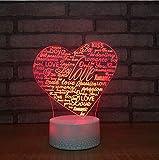 Luce Notturna,Controllo Remoto 3D Led Night Light 7 Cambia Colore Novità Novità A Forma Di Cuore Lampada Da Tavolo Decorazione Comodino Sonno Illuminazione Regali Romantici Creativi