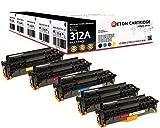 Original Reton Toner, kompatibel, 5er Farbset für HP PRO M476DN (CF380A, CF381A, CF382A, CF383A), HP 312A, Color Laserjet PRO MFP M476, 2X Schwarz Cyan Magenta Gelb