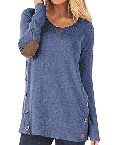 Anyu Donna Maniche Lunghe Pullover Magliette Camicia con La Decorazione dei Bottoni Denim Blu