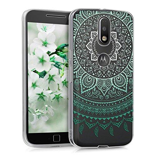 kwmobile Funda para Motorola Moto G4 / Moto G4 Plus - Case para móvil en TPU silicona - Cover trasero Diseño Sol hindú en menta blanco transparente