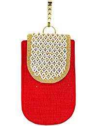 Bagaholics Ethnic Beads & Pearl Clutch Jute Saree Clutch Mobile Pouch Waist Clip Ladies Purse Gift For Women