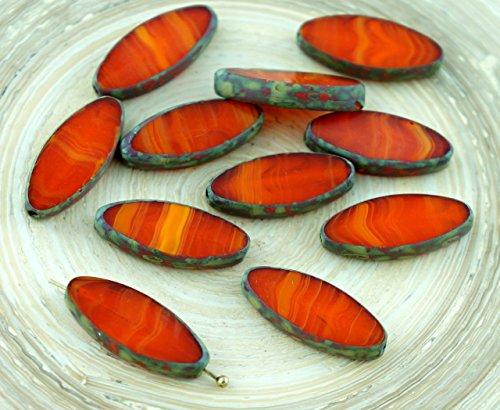 Amber Glas Schneiden (6pcs Picasso-Braun-Opal-Orange Gestreifte Halloween-Ovale, Flache Blütenblatt Tisch am Fenster Geschnitten, Tschechische Glas-Perlen 20mm x 9mm)