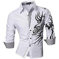 Jeansian Uomo Camicie Maniche Lunghe Moda Men Shirts Slim Fit Casual Long Sleves Fashion Z001
