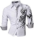 Jeansian Uomo Camicie Maniche Lunghe Moda Men Shirts Slim Fit Casual Long Sleves Fashion Z001 (US L, White)