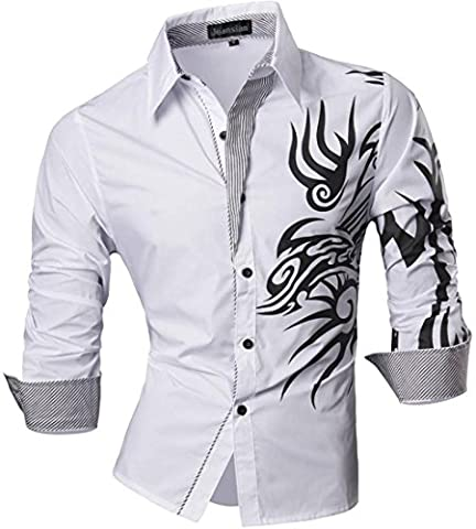 jeansian Herren Freizeit Hemden Shirt Tops Mode Langarmlig Men's Casual Dress Slim Fit 2028 (USA XXL (185-190cm 80kg-85kg), (Top Casual Dress)