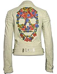 PHILIPP PLEIN Damen Designer Leder Jacke - PARADISE SKULL -
