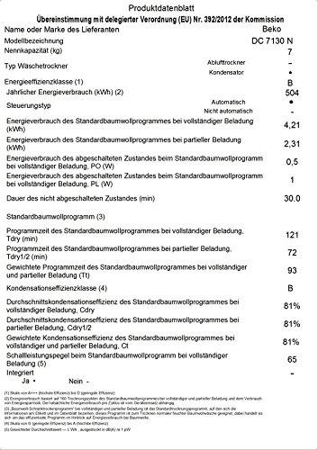 Beko DC 7130 N Kondenstrockner / 7kg / B / Elektronische Feuchtemessung / Automatischer Knitterschutz / Reversierende Trommelbewegungen / 15 Programme