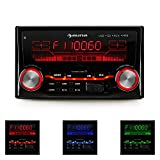 auna MD-200 2G • Autoradio • Car-Radio • Car-HiFi-Set • USB-Slot • SD/MMC-Speicherkarten-Slot • UKW-Radiotuner • MP3 • 3,5mm-Klinke-AUX-Eingang • 2 x Stereo-Cinch-Line-Ausgang für 2- oder 4-Kanal Endstufen • Leistung 4 x 75 W max. • Fernbedienung • schwarz