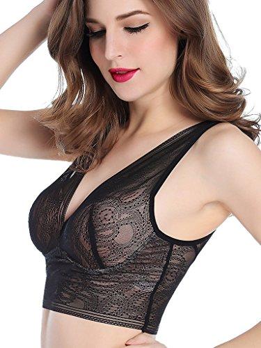 6c4a7ac9c278e Intimate Portal Women Empress Bralette Soft Mesh Lightly Padded Non-Wired  Bra Black 34D 36C 38B