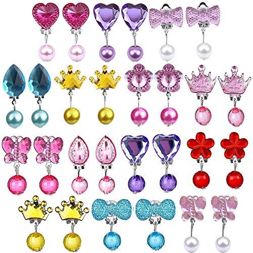 14 Paare Kinder Mädchen Ohrclips Box Set, Ouinne Clip-on Kristall Ohrringe Mädchen Spielen Ohrringe Prinzessin Clip auf Ohrringe Set für Party Gefallen Verpackt