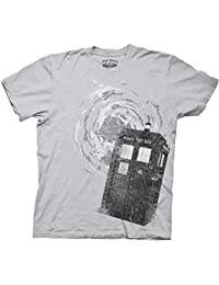 Dr. Doctor Who Tardis Time Vortex Phone Booth Ice Grey Adult T-shirt Tee
