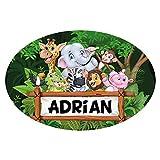 Sticker De Porte Personnalisable avec Le Prénom de Votre Enfant - Animaux de la Jungle - Dimensions 15 x 10 cm - Adhésif