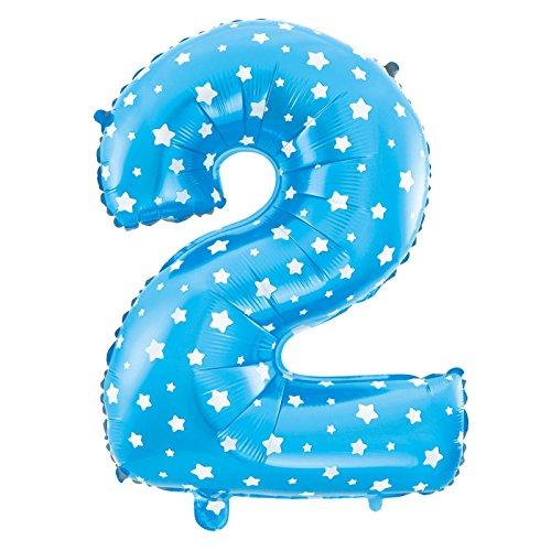 MC-Globo Gigante Número 2 DE Foil Color Azul con Estrella para Fiestas de Cumpleaños 65cm